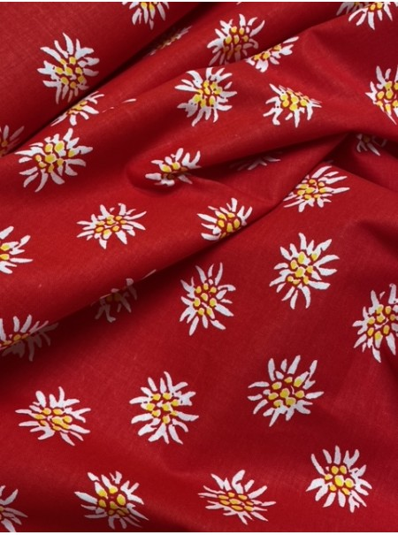 Tissu coton edelweiss rouge