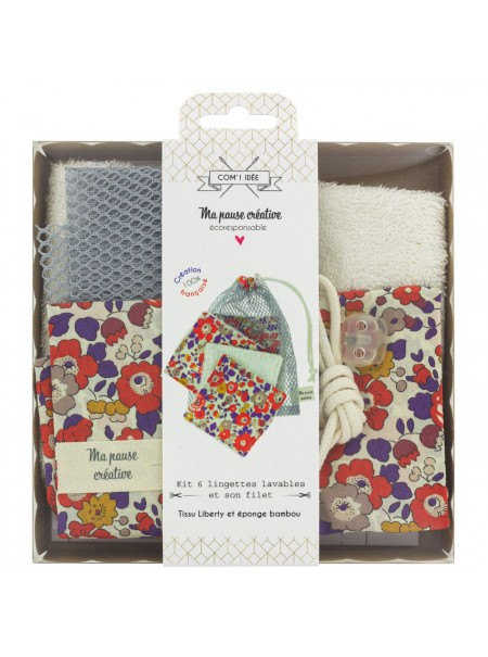 Kit de 6 lingettes Liberty + sac filet rouge et violet