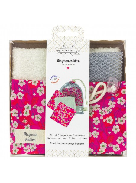 Kit de 6 lingettes Liberty + sac filet rose
