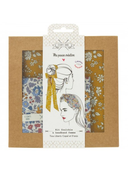 "Kit ""foulchie et headband femme"" liberty moutarde"