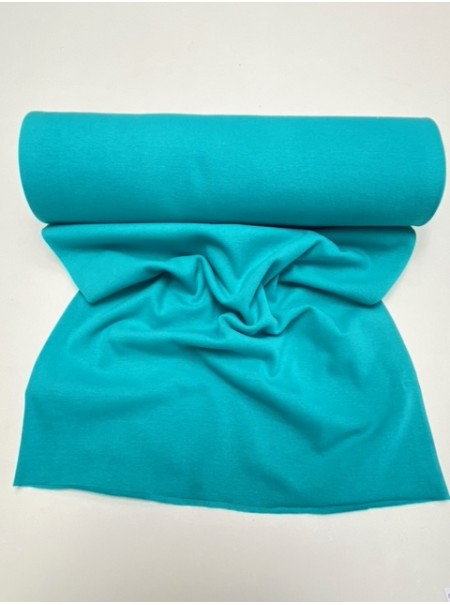 """Tissu """"bord côte"""" maille tubulaire turquoise"""